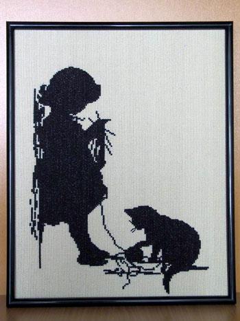 Вышивка силуэт девушки с кофе